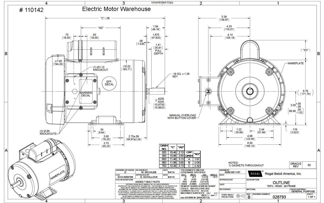 Schematic Wiring Baldor 56z Frame Motor Brake Diagram 1 Hp 3450 Rpm 56 Tefc 115 208 230v W Overload Protection