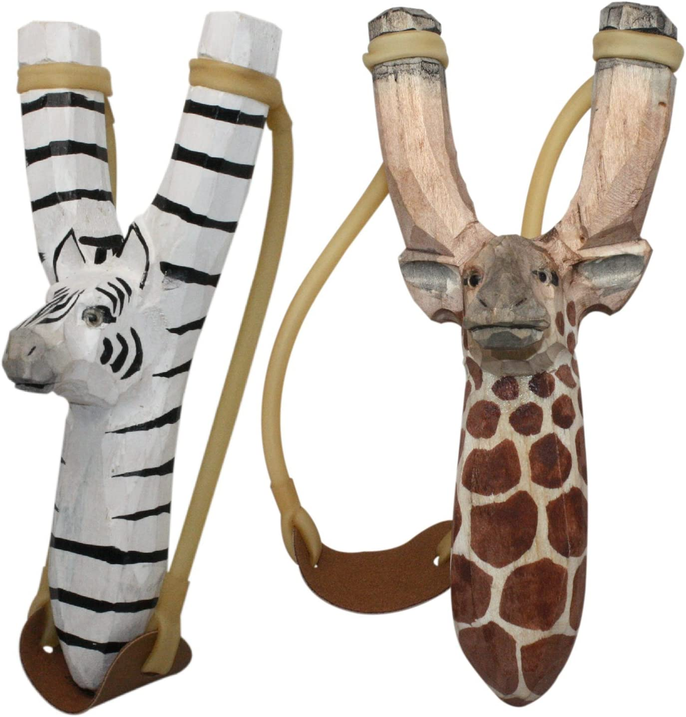 NatureLaunchers Nature LAUNCHERS - Hand-Carved Wooden Slingshot - 2 Pack - Giraffe Zebra