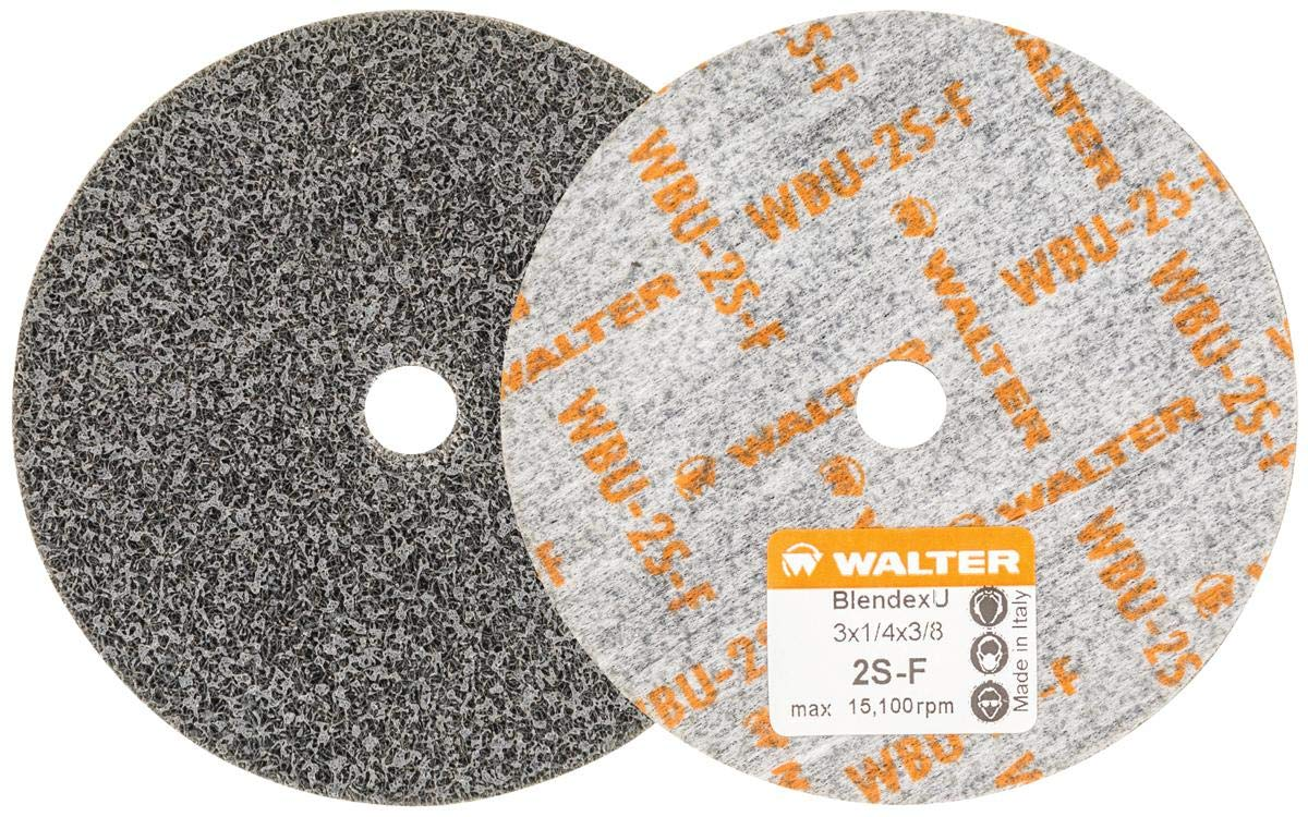 Walter 07U321 Blendex U Wheel (Pack of 25) - ¼ in. Width, 15100 RPM, 2SF Grit Wheel - 3 in. Finishing Wheel for Carbon Steel, Stainless Steel, Aluminum