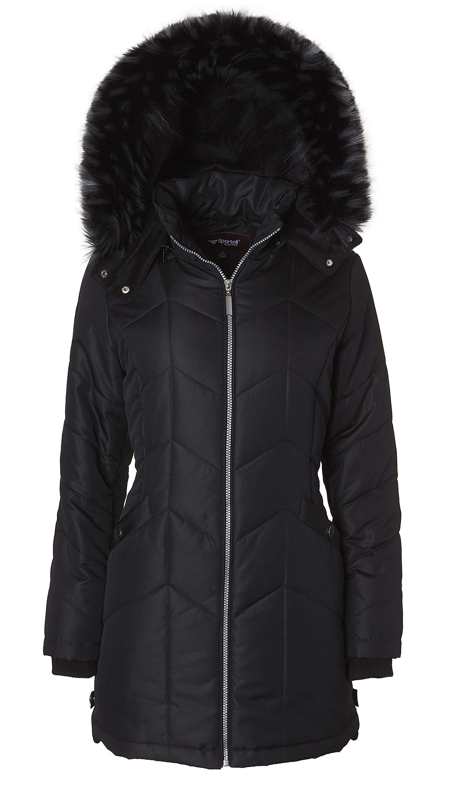 7bbcb17dfa0 Women s Long Down Alternative Puffer Coat Detachable Plush Lined Fur Trim  Hood product image
