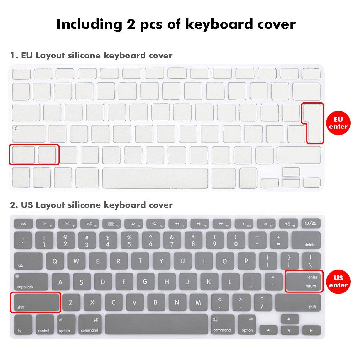 A1369 Klar A1466 Slim Case Plastik Hartschale Snap Cover mit Silicon Transparent Tastaturschutz Schutzh/ülle f/ür Apple MacBook Air 13,3 Modell TECOOL MacBook Air 13 Zoll H/ülle Case