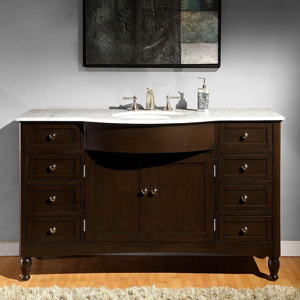 Silkroad Exclusive Marble Top Single Sink Bathroom Vanity with Dark Walnut Finish Cabinet, 58-Inch