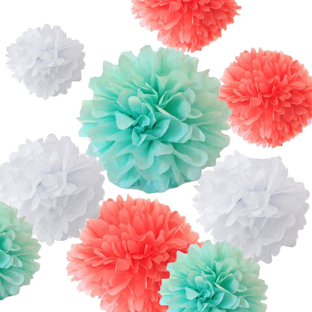 Fonder Mols 12pcs Art Craft Pom Poms Tissue Paper Flowers Ball Kit - Coral, Mint Green & White - Mixed Sizes 8'' 10'' 12'' 14''
