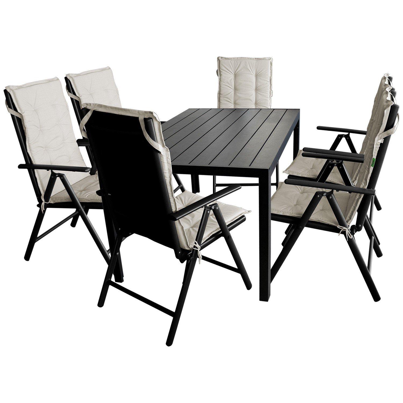 13tlg. Sitzgruppe Sitzgarnitur Gartengarnitur Gartenmöbel Terrassenmöbel Set - Gartentisch, Polywood Tischplatte, 150x90cm + 6x Hochlehner, Textilenbespannung, 7 Positionen, klappbar + 6x Stuhlauflage, beige