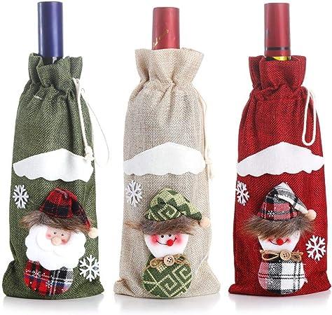 planuuik Cubiertas de Botellas de Vino de Navidad Bolsas para Mesa Decoraciones navideñas Bolsa de Regalo Decoración de anfitriona de Navidad: Amazon.es: Hogar