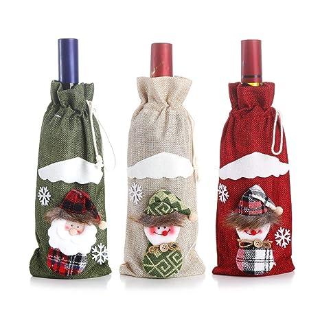 Caingmo Fundas para Botellas de Vino de Navidad decoración ...
