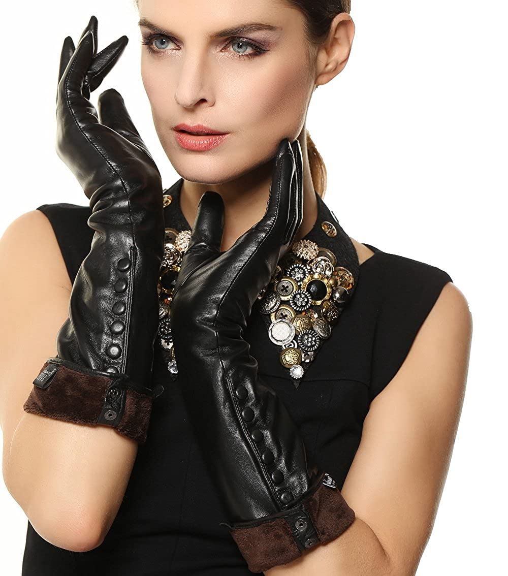 Vintage Style Gloves- Long, Wrist, Evening, Day, Leather, Lace Womens Touchscreen Long Elbow Length Winter Fleece Lined Gloves Buttons $59.99 AT vintagedancer.com