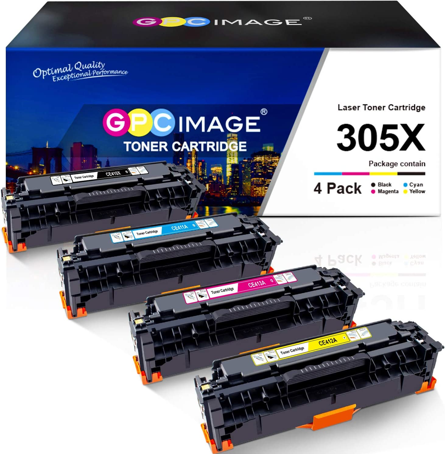 GPC Image Remanufactured Toner Cartridge Replacement for HP 305X 305A CE410X to use with Laserjet Pro 400 Color M451dw M451dn M451nw MFP M475dw M475dn M375nw Printer (Black, Cyan, Magenta, Yellow)