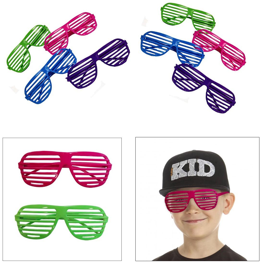 3c391eb6ec0 Amazon.com  dazzling toys 36 Pack 80 s Slotted Toy Sunglasses Party Favors  Costume - Pack of 36 - Assorted Colors  Toys   Games