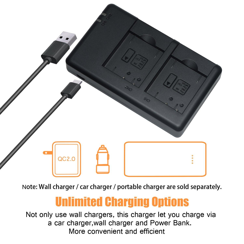 DSTE Fast Charging USB Dual Batteria Caricatore Compatibile per Sony NP-BN1,Cyber-shot DSC-QX10 DSC-TX10 DSC-TX9 DSC-T99 DSC-T110 DSC-TX20 DSC-TX5 DSC-TX7 DSC-QX100 DSC-TF1 DSC-TX30
