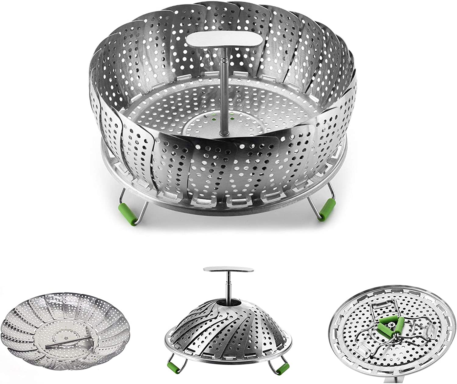 Steamer Basket Stainless Steel Vegetable Steamer Basket Folding Steamer Insert for Veggie Fish Seafood Boiled Eggs Cooking - Adjustable Expandable to fit Various Size Pot (5.1' to 9')