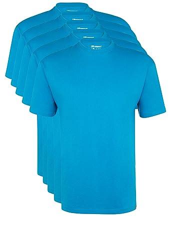 Ultrasport Herren Sport Freizeit T-Shirt mit Rundhalsausschnitt 5er Set,  Blau, S,
