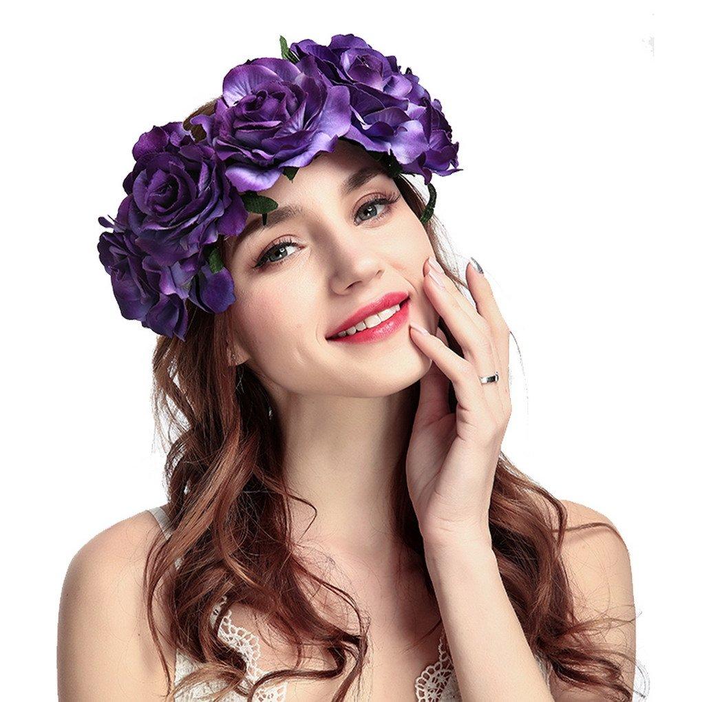 ACMEDE Bandeau Cheveux de Mariage Floral Couronne de fleurs Rosiers Bandeau pour Mariée Plage Vacances Rouge Foncé