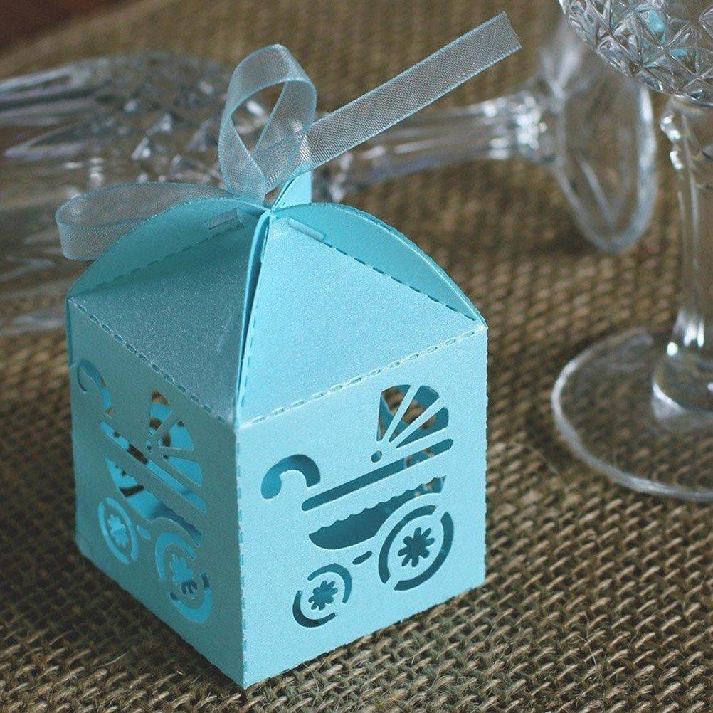 PIXNOR 50 Piezas Caja para Caramelos Regalo Bombones Recuerdos de Bautizos Bodas con Cinta (Azul Cielo): Amazon.es: Bricolaje y herramientas
