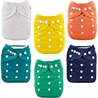 AlLVABABY Cloth Diapers Pocket Washable Adjustable Reuseable Cloth Diapers Nappies Boys Girls 6 Pack + 12 Inserts 6BM102-CA