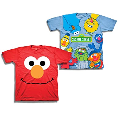61ace5aab Image Unavailable. Image not available for. Color: Sesame Street Short  Sleeve Shirt – 2 Pack of Tees – Elmo, Cookie Monster,
