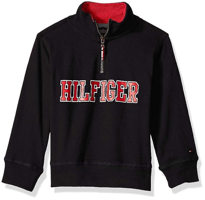 28577af541 Tommy Hilfiger Toddler' Boys' Long Sleeve Half Zip Pullover Sweater, Chest  Black,