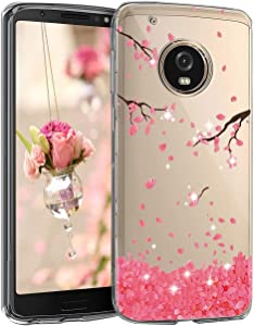 Slim fit Case for Motorola MOTO G5 Plus Case Flower Clear Soft TPU Transparent Silicone Shockproof Protective Cover MOTO G5+
