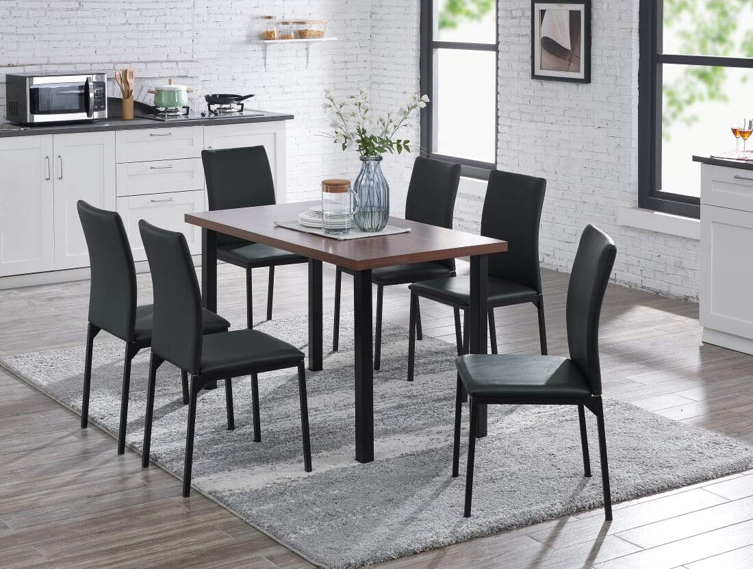 IDS Home Modern Dining Table Rectangular Top Wood and Chair Set, Kitchen Dining Room Furniture Rust Resistant Metal Leg Frame, Black 1Table 6Chairs