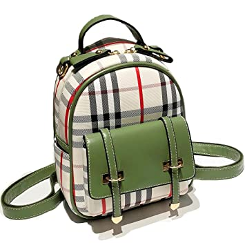 bf54ef50b8dc Gashen Women s Mini PU Leather Backpack Purse Casual Drawstring Daypack  Convertible Shoulder Bag (Green Plaid