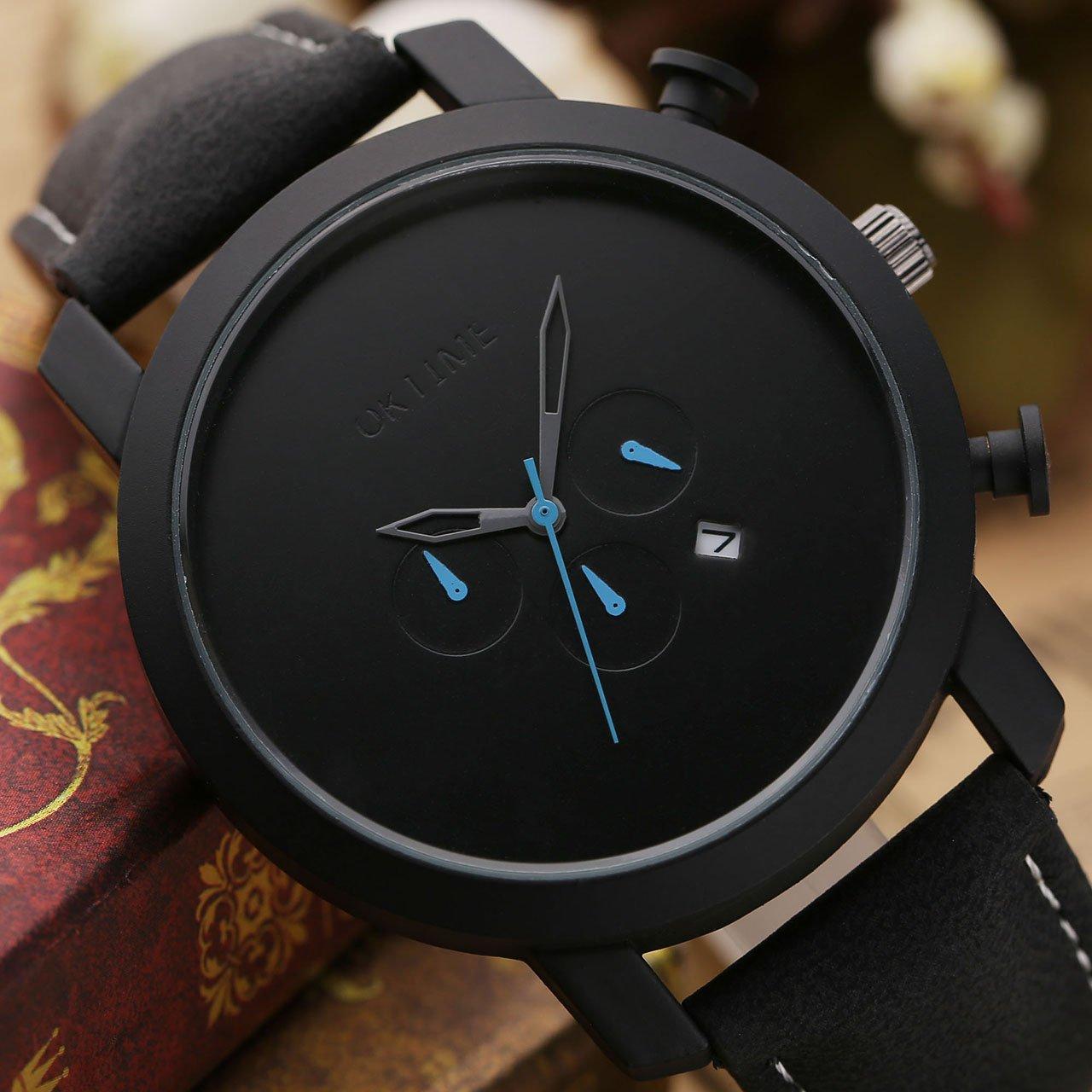 JSDDE Uhren,Sport Armbanduhr DREI unecht Chronograph 3ATM Wasserdicht Kalender Analog Quarz Uhr Echtleder Armband,schwarz