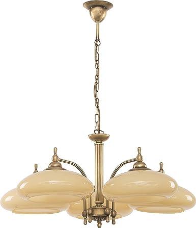 Elegante lámpara colgante de 5 luces Crema Visera Plana ...