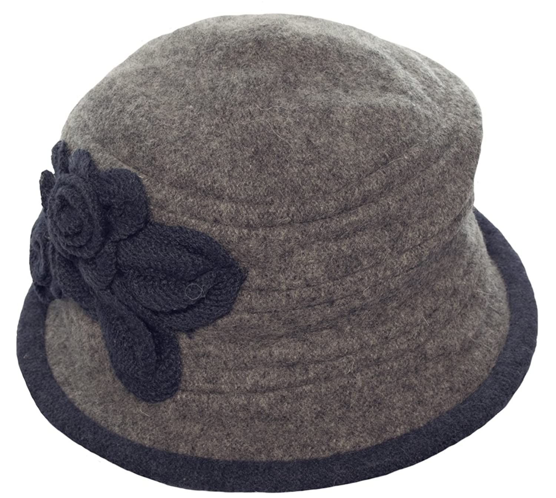 MYTEM-GEAR Damen Hut Mütze Winterhut Wintermütze aus Wolle mit seitlichem Blumenbesatz zweifarbig