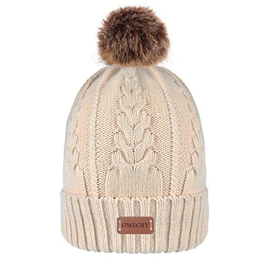 a58bd5a408e Bodvera Womens Slouchy Winter Pom Pom Beanie Hats Cable Knit Chunky Bobble  Hat Fleece Lined Skully