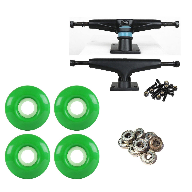 litezpeed Skateboard Trucksブラック/ブラック52 mmグリーンABEC 9 BEARINGSコンボ   B07BX12JPR
