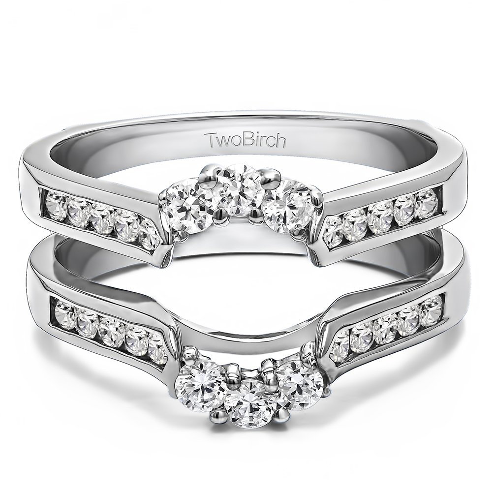 10k White Gold Royalty Inspired Half Halo Ring Guard Enhancer with Diamonds (G-H,I2-I3) (0.54 ct. tw.)