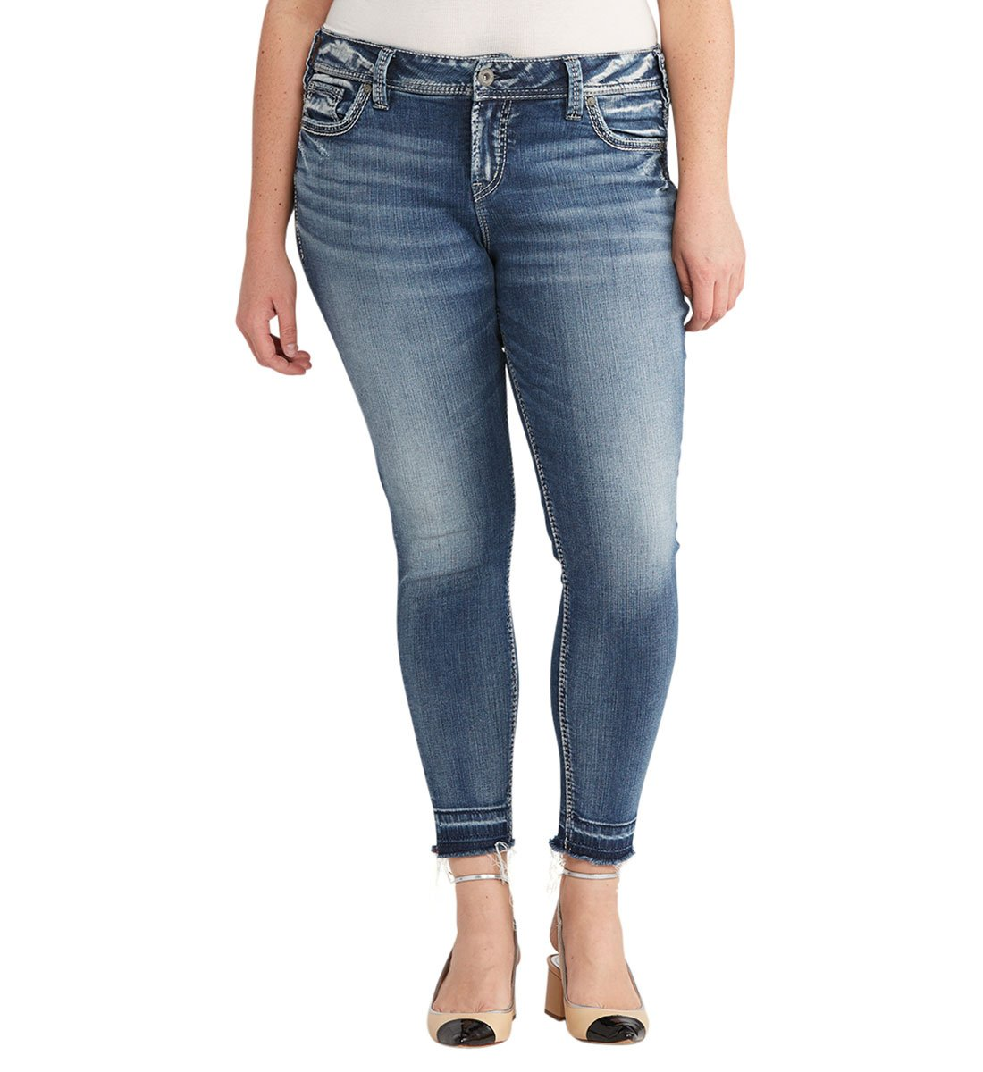 Silver Jeans Women's Plus Size Elyse Eased Curve Mid Ankle Skinny Light Jean, Medium Wash Released Hem, 16X27 by Silver Jeans Co.