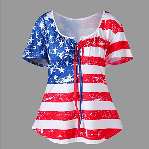 Camisas con bandera de Estados Unidos para mujeres y jóvenes, talla grande, camiseta de manga corta holgada, blusa de limpieza: Amazon.es: Electrónica