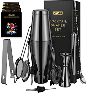 Cocktail Shaker - Koviti 12 Piece Bartender Kit - Stainless Steel Cocktail Shaker Set, Premium Bar Set for Home, Bars, Parties and Traveling(Black)