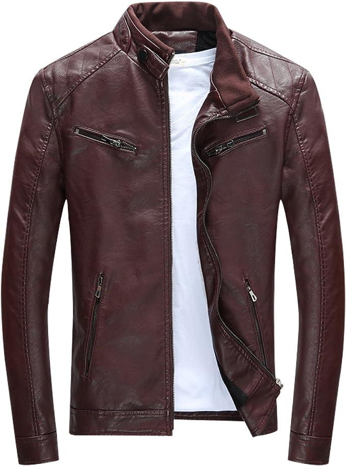 Herren Lederjacke Mens PU Leder Jacken BiSHE Slim Smart Fit Fleece Harrington Jacke Mantel (Kaffee DE M)