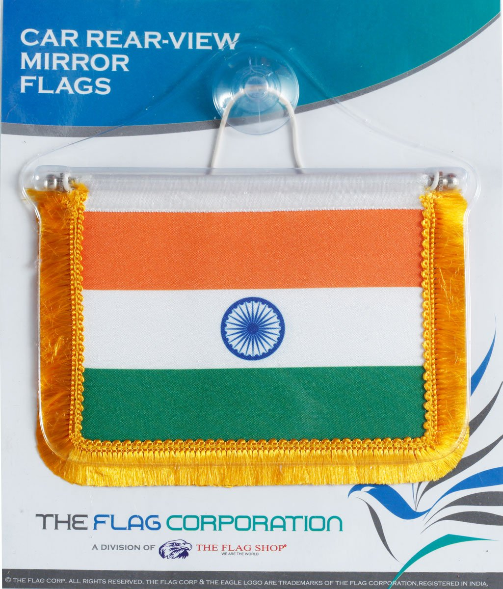 Indian Miniature Rear-View Mirror Dangling Car Flags With A Vacuum Base