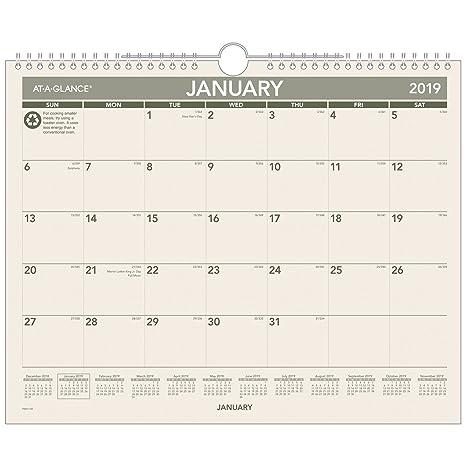 Calendrier Mensuel Decembre 2019.Sur L Mensuel Calendrier Mural Recycle Janvier 2019