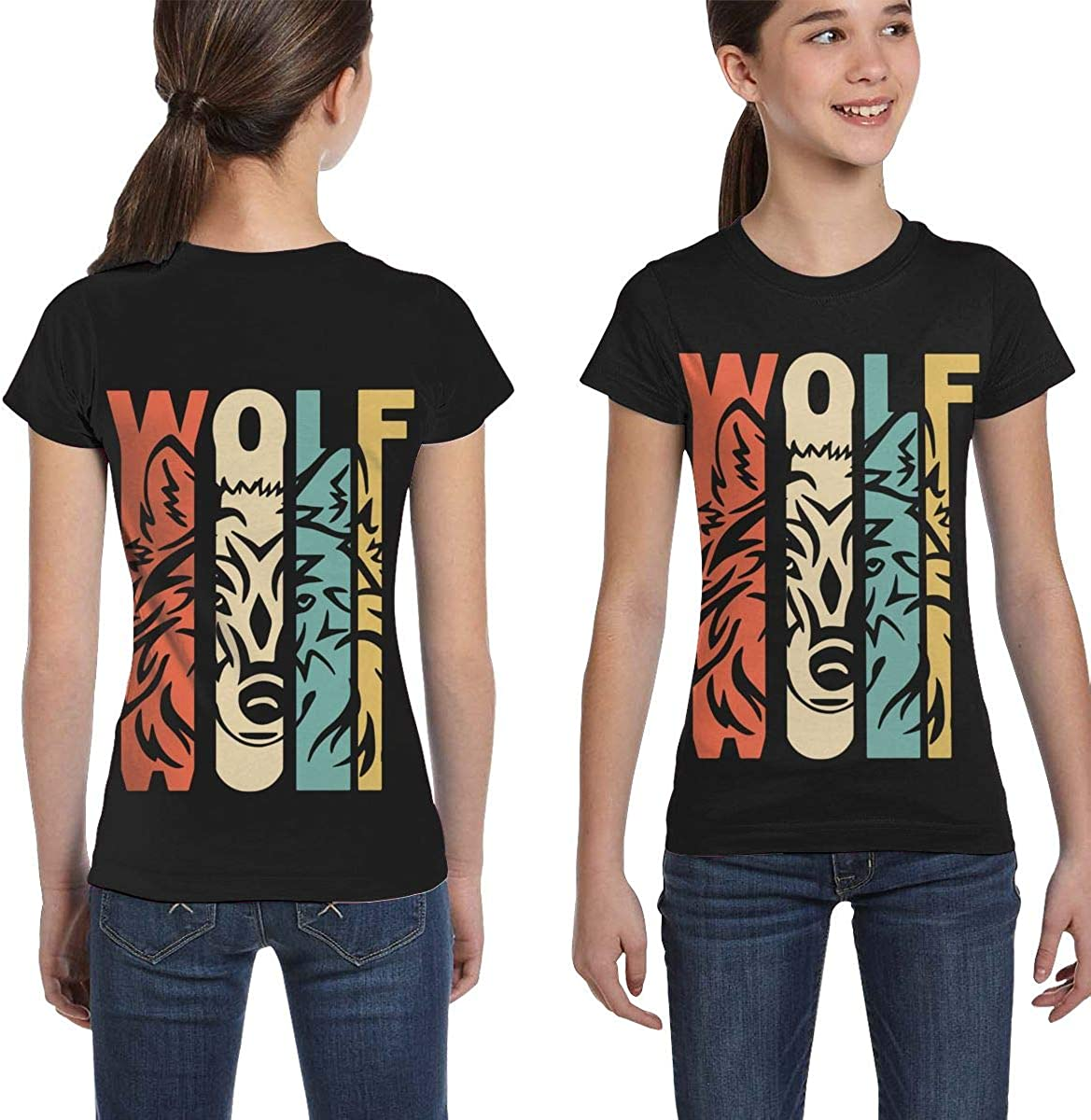 XS-XL Casual Blouse Clothes Girls Short Sleeve Retro Style Wolf Silhouette Shirts