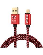 ULTRICS Cable Micro USB 3M, Trenzado Nylon Carga Rápida y Datos Sincro, Android Cargador Cable Compatible con Samsung Galaxy, Sony LG, PS4 Xbox 360, Smartphones, Tabletas y más - Rojo