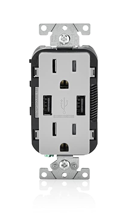 Leviton T5632-GY USB Charger/Tamper-Resistant Duplex Receptacle, 15 ...