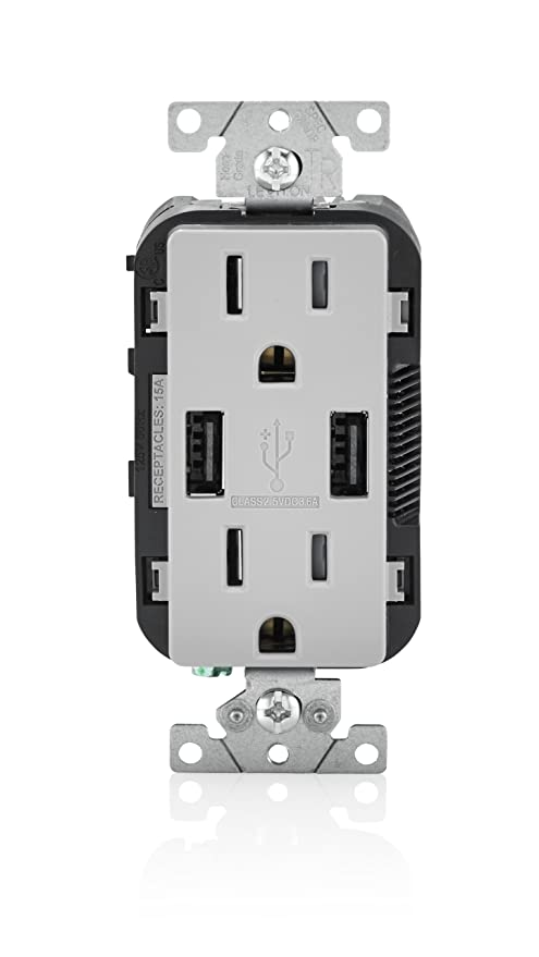 Leviton T5632-GY 15-Amp USB Charger/Tamper Resistant Duplex ...
