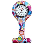 Lancardo Nurses Fashion Coloured Patterned Polka Dot Silicon Rubber Fob Watches(Rose Red)