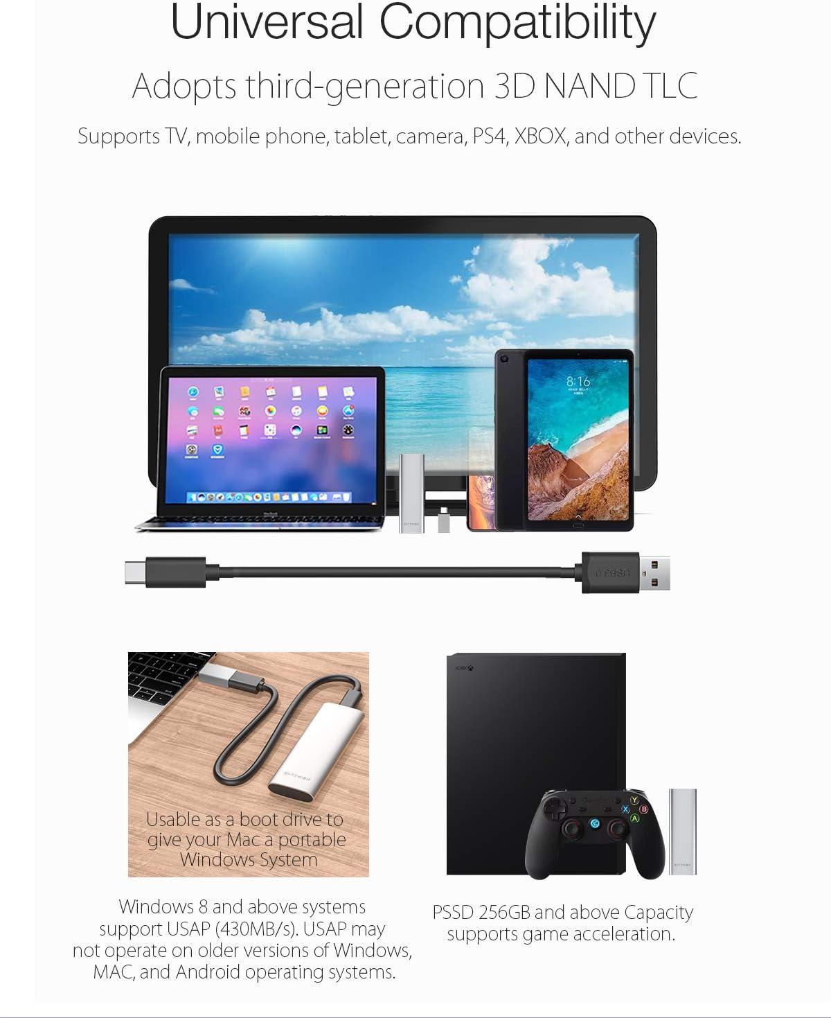 Disco Duro Externo, BlitzWolf 256GB USB 3.1 Gen 1 Disco Estado ...