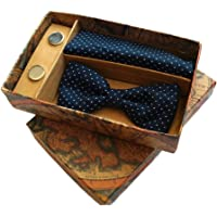Blacksmith Polka Navy Tie, Bowtie, Cufflink, Pocket Square Set for Men