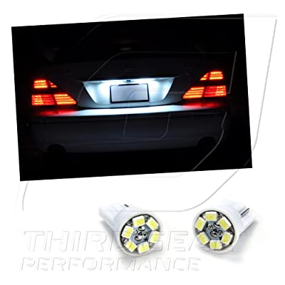 TGP T10 White 6 LED SMD License Plate Wedge Light Bulbs Pair 1999-2012 Compatible with Chevrolet Silverado: Automotive