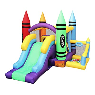 BESTPARTY Inflatable Bounce House Castle Inflatable Jumper Bouncer House Slide Bouncy House with Blower: Toys & Games
