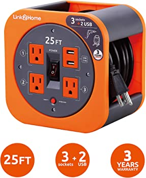 Link2Home 25 Ft Extension Cord With 4 Power Outlets & 2 USB Ports