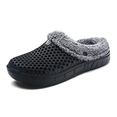 Sintiz Unisex Fur Lined Clogs Slippers Winter Breathable Mesh Indoor Outdoor Walking Garden Shoes Warm Non-Slip House Shoes | Slippers
