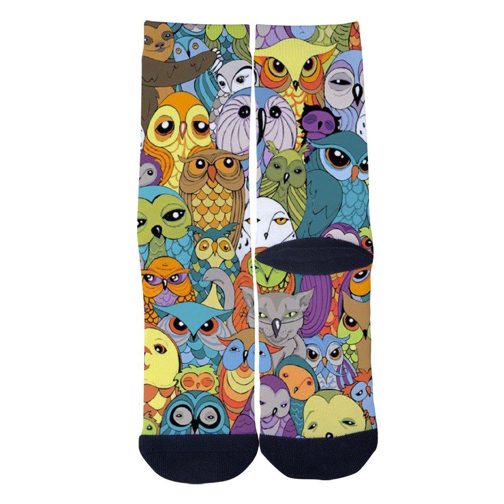 Letter Owl in Magic World Custom Socks Creative Casual Crew Socks Classics Sport Long Sock