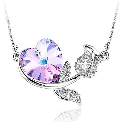 27bb2f10f902 Angelady Rose Romance Love Heart Pendant Necklace Crystal from Swarovski