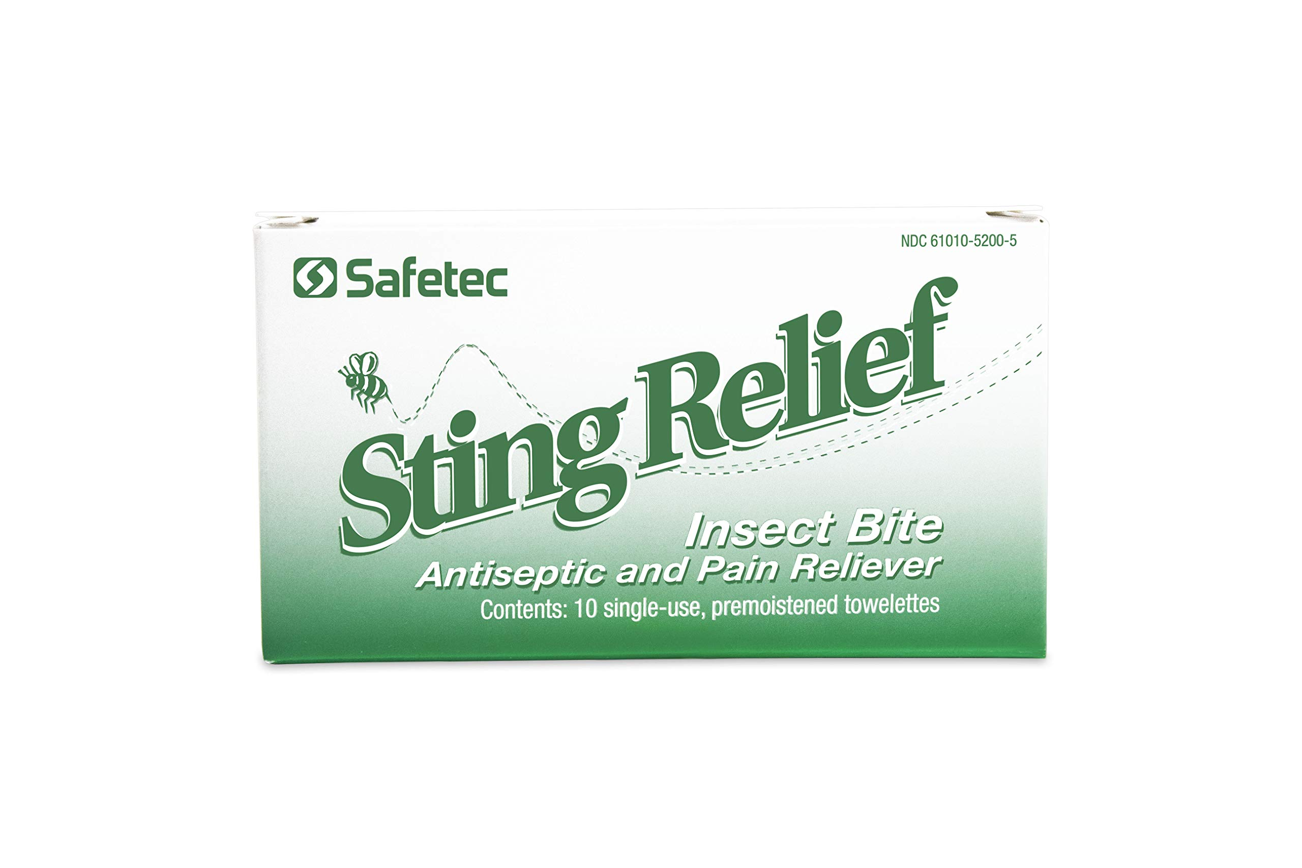 Safetec Sting Relief Wipe 10 ct. Box (100 Boxes/case) - for Relief from Pain and Itching Caused by Insect Stings and Bites by Safetec